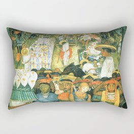 Diego Rivera Friday of Sorrows on the Canal Santa Anita, Mexico with Calla lilies landscape painting Rectangular Pillow