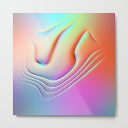 Holographic Abstract Waves - Bangerz Metal Print