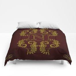 Monogram N seahorse Comforters