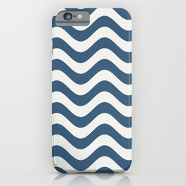 Blue & Off White Rippled Stripes, Wavy Line Pattern - 2020 Color of the Year Chinese Porcelain iPhone Case