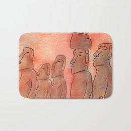Moai statues watercolor Bath Mat