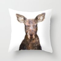 moose Throw Pillows featuring Little Moose by Amy Hamilton