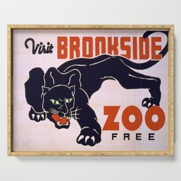Vintage poster -Visit Brookside Zoo Free Serving Tray