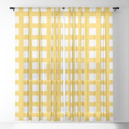 Thick Aspen gold yellow grid pattern Sheer Curtain