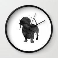 dachshund Wall Clocks featuring Dachshund by Carma Zoe
