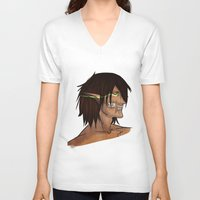 titan V-neck T-shirts featuring Titan Form by JemyArt