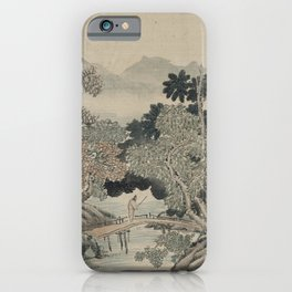 Japanese Art Print - Traveller Crossing a Bridge (1750s) iPhone Case