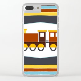 Kids Toy Train Stripes Clear iPhone Case