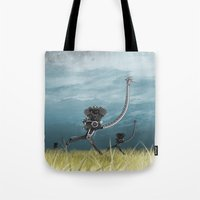 runner Tote Bags featuring Runner by Tony Vazquez