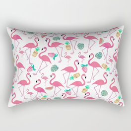 Tropical pink watercolor flamingo sweet summer fruit pattern Rectangular Pillow