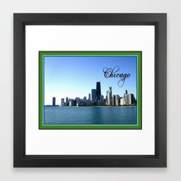 Chicago Skyline with Border Framed Art Print