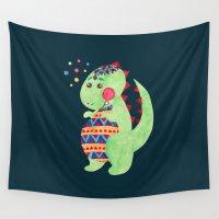 dino Wall Tapestries featuring Green Dino by haidishabrina