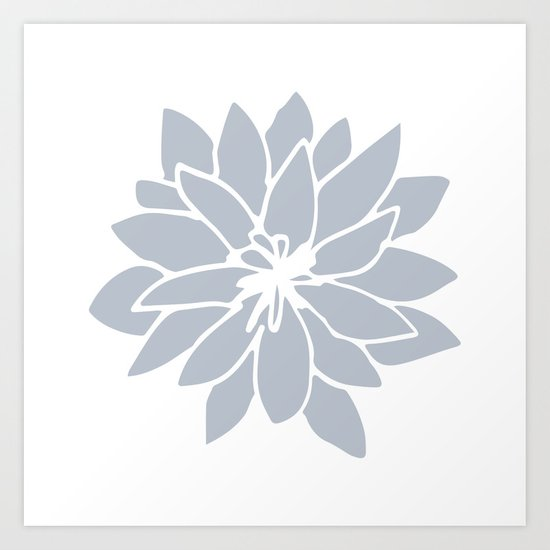 Flower Bluebell Blue on White Art Print