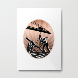 Construction Workers Woodcut Retro Metal Print