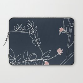 Flora, White and Pink on Navy Blue Laptop Sleeve