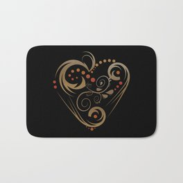 GOLDEN HEART  (valentine art deco abstract love) Bath Mat