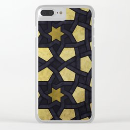 Contemporary Geometric Pattern Accented By Gold Stars Clear iPhone Case