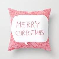 merry christmas Throw Pillows featuring Merry Christmas! by Fimbis