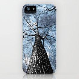 Wintry Trees Galaxy Skies Steel Blue iPhone Case