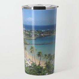 Beach at Caribe Hilton, San Juan, Puerto Rico, before Maria Travel Mug