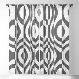 black and white terms Sheer Curtain