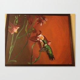 Hummingbird with Columbine Flowers Canvas Print