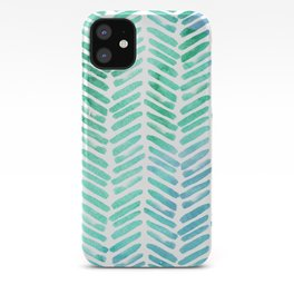 Handpainted Chevron pattern - light green and aqua - stripes iPhone Case