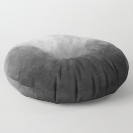 Full Moon Solstice: Abstract Black and White Floor Pillow