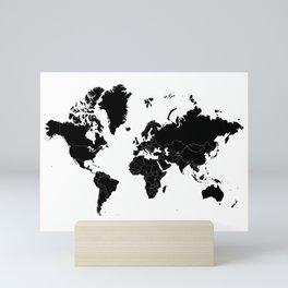 Minimalist World Map Black on White Background Mini Art Print