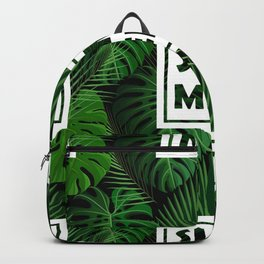 Tropical green monster leaves floral summer typography Backpack