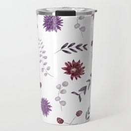 Purple Fall Flower Print Travel Mug
