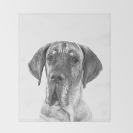 Black and White Great Dane Throw Blanket