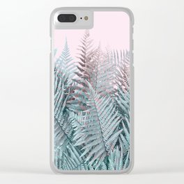 Duotone Fern Jungle on Soft Pink Clear iPhone Case