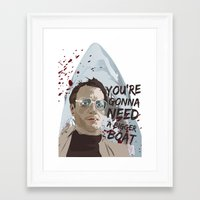 jaws Framed Art Prints featuring Jaws by Colo Design