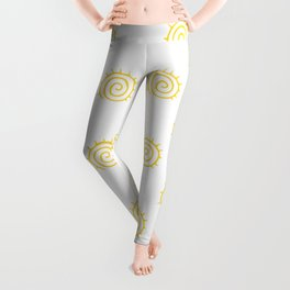 Yellow Spiral Sun on white background Leggings