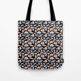 Cute pastel cats on black backgroung Tote Bag