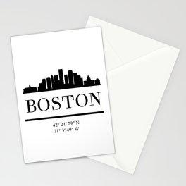 BOSTON MASSACHUSETTS BLACK SILHOUETTE SKYLINE ART Stationery Cards