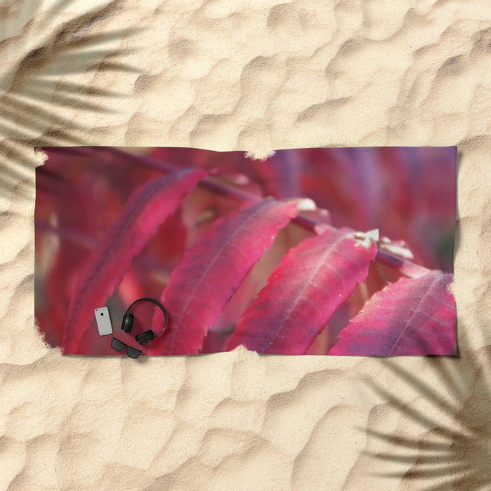 Radiant Red Sumac Leaves Beach Towel