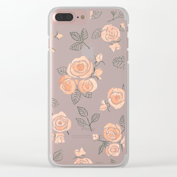 Peach watercolor roses pattern Clear iPhone Case