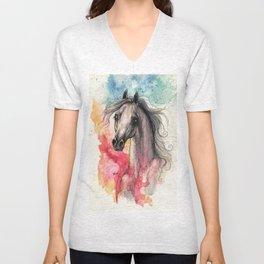araian horse on rainbow background Unisex V-Neck
