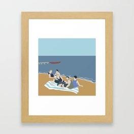 Vintage bathers Framed Art Print