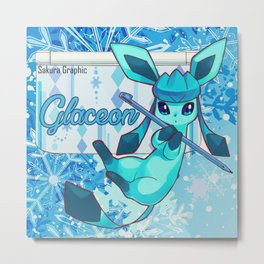 The glacial cold of Glaceon Metal Print