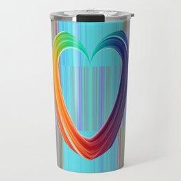 Fractal Art- Pattern Art- Heart Art- Blue Hearts-Pixxie Stixx- LGBT Art- Love- Healing Energy Art Travel Mug