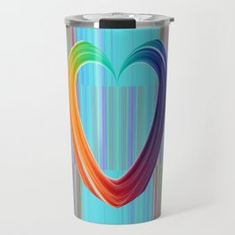 Fractal Art- Pattern Art- Heart Art- Blue Hearts-Pixxie Stixx- LGBT Art- Love- Healing Energy Art Travel Mug