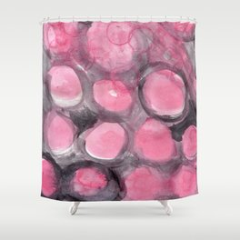 Pink and Gray Bubbles Shower Curtain