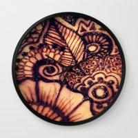 henna Wall Clocks featuring henna love  by Designs by NN