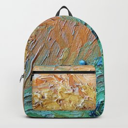 Wheat Field with Cypresses Brush Detail by Vincent van Gogh Backpack