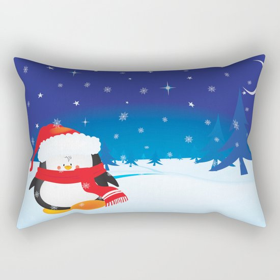 cute little xmas penguin Rectangular Pillow