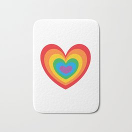 LGBTQ Rainbow Heart CSD Gay Pride Lesbian T-Shirt Love Bath Mat