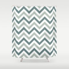 Classic Chevron in Shades of Gray Shower Curtain